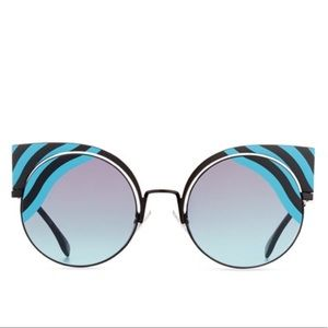 🆕NWT FENDI HYPNOSHINE striped cut out sunglasses